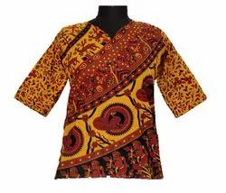 Printed Half Sleeves Women''S Jaipuri Cotton Top, Size: XL