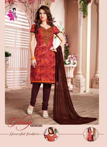 47ae546d09be3 Cotton Red & Brown Embroidery Churidar Dress, Rs 505 /piece   ID ...