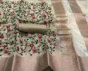 Embroidery Katchi Work Organza Zari Border Sarees