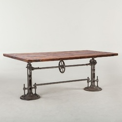Vintage Finish Industrial Dinning Crank Table