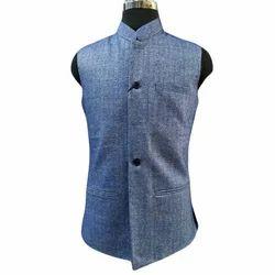 Mens Cotton Light Blue Waistcoat, Size: 36 to 44