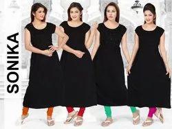 Black A Line Cotton Kurti