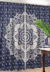 Ombre Mandala Window Curtains Indian Drape Balcony Room Decor Curtain Boho Set
