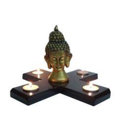 Golden & Black Polyresin T Light Cross Buddha Head