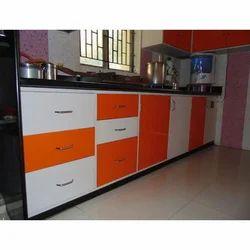 Modern Orange And White Modular Kitchen Cabinet Rs 1050 Square Feet Id 17904901330