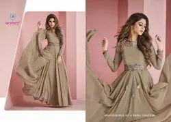 Party Wear Anarkali Embroidered Georgette Kurti, Wash Care: Dry Clean