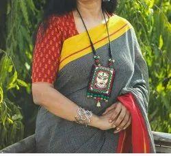 Festive Wear Plain Ikkat Silk Saare, 6 m (with blouse piece)