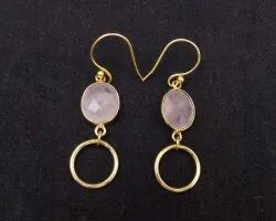 Pink Chalcedony Gemstone Oval Shape Fashion Earring with Gold Plated