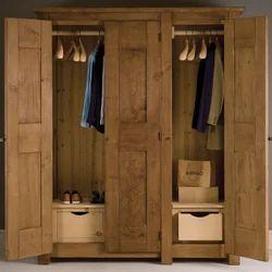 Teak Wood 3 Doors Designer Wardrobe For Home & Hotel