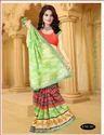 Green Color Printed Silk Saree For Ladies