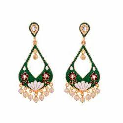 Green Meena Earring