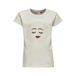 Cotton Round Neck Girls T Shirt, Size: S-XL