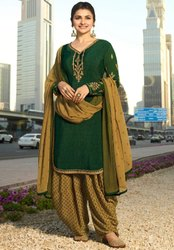 Prachi Desai Bottle Green Crepe Patiala Kameez