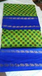 OSP HAND PRINT 10 YARDS Madurai Sungudi Cotton Sarees, With Blouse, 9 MTS