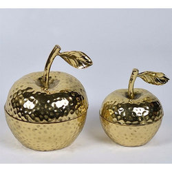 Decorative Brass Apple Shaped Jar with Lid