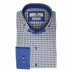 Party Wear Men Fancy Cotton Check Shirts, Size: S-XXL