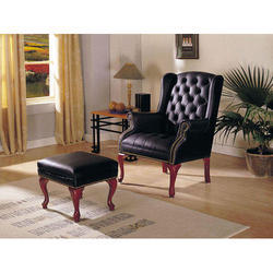 Pranshi Handicrafts Black, Red Leather Sofa with Stool for Home