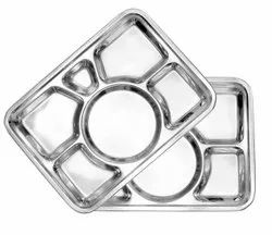Steel Mess Tray 2,3,4,5 & 6 Compartment Plate