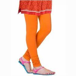 Churidar Plain Orange Lycra Leggings