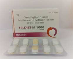 TELDIET-M 1000 Teneligliptin 20mg Metformin 1000mg Tablet, Packaging Size: 10*10