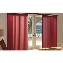 Red PVC Plain Striped Vertical Blind