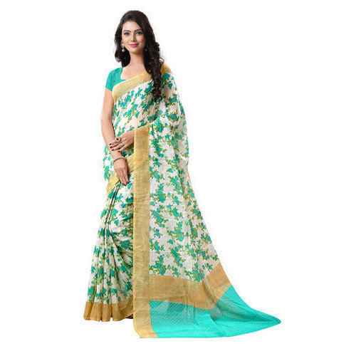 White Green Casual Wear Printed Cotton Saree, With Blouse Piece
