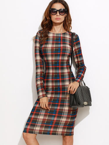 703cb630a2 Wholesaler of SHEIN Multicolor Plaid Pencil Dress & SHEIN Tied Bell ...