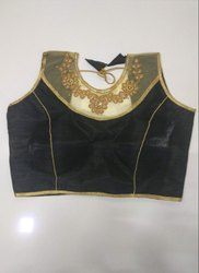 Black Art Silk Readymade Blouse