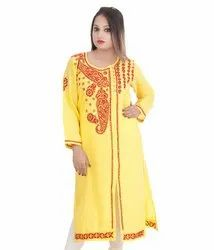 3/4th Sleeve Casual Wear Angrakha Style Side Slit Rayon Slub Kurti