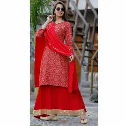 Ladies Designer Kurtis With Palazzo And Dupatta