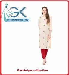 Ladies Rayon Cream Embroidery Kurti