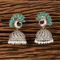 Antique Peacock Earring With Matte Rhodium Plating 202094