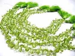 Natural Peridot Pear Shape Briolette 4x6mm Strand 8 Inches