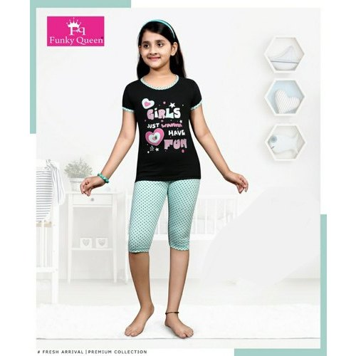 a86f3deec Girls Black Cotton Night Suits at Rs 160  piece