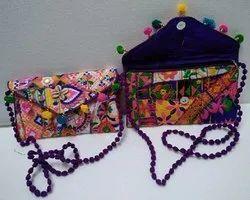 Pom Pom Multicolor Ethnic Kantha Embroidered Sling Bag, Size: 9