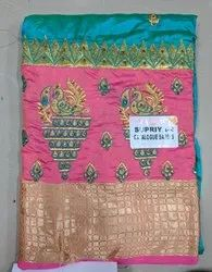 Casual Wear Printed Designer Embroidery Saree, Packaging Type: Plastic Bag, 6 m (with blouse piece)