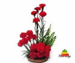 15 Red Carnations Basket