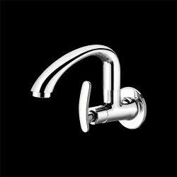 Silver Brass Wall Flange Swinging Sink Cock