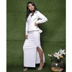 White Long Side Slit Woolen Skirt With Metallic Button Woollen Top/Jacket