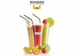 Juice Glass Plastic Triones 6 In 1 Unbreakable Glassware Set - 001, For Home, Model Name/Number: TUGS-001