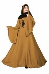 Women's Plain Nida Umbrella Abaya Burka with Chiffon Hijab