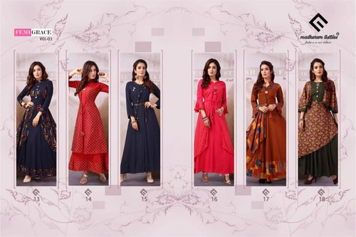 17e0003be9 Woman Stitched Ladies Designer Long Kurtis, Rs 749 /piece | ID ...