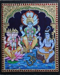 Shivan, Brahma And Vishnu Tanjore Painting