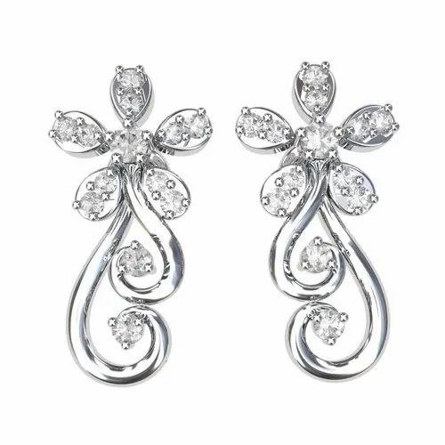 Palish Wedding White Gold Women's Earrings, Rs 11795 /piece 49 Jewels   ID:  22112946530
