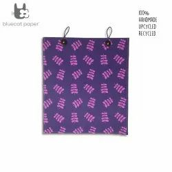 Beautiful eco friendly and unique gift bag with buttons - purple paper and pink twig leaf print