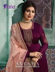 Fiona Ayesha Vol2 Satin Georgette Salwar Suit With Organza Silk Dupatta