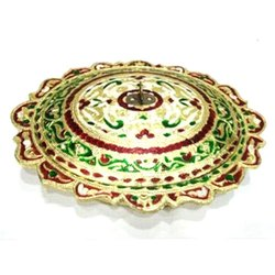 Round Polished 9x11 Oval shaped Wooden Golden Meena Designer Dry-fruit Box