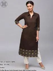 Solid Straight Kurta with Printed Hemline
