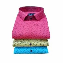 Cotton Regular Fit Men's Casual Printed Shirt, Packaging Type: Packet