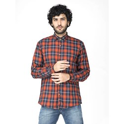 Green Hill Men's Checkered Casual Orange Shirt